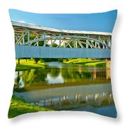 Reflections Of The Halls Mill Covered Bridge Throw Pillow