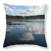Reflections Of Widemouth Bay Throw Pillow