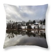 Reflections Of Winter Flood Throw Pillow