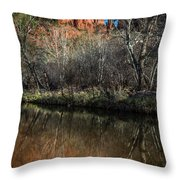 Reflections On Cathedral Rock Throw Pillow