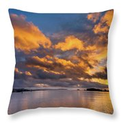 Reflections On Fire Sunset Throw Pillow