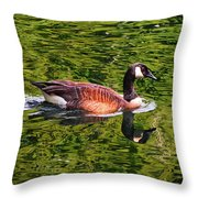 Reflections - Swimming Goose 003 Throw Pillow