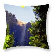 Refreshing The Soul - Bridalveil Yosemite Throw Pillow