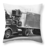 Refrigerated Semi Trailer Throw Pillow