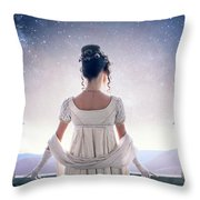 Regency Woman Looking At The Stars In The Night Sky  Throw Pillow