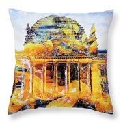 Reichstag And Flower Throw Pillow