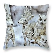 Reindeer And Owls Holiday Celebration 2 Throw Pillow