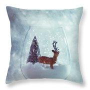 Reindeer In Glass Snow Globe  Throw Pillow