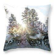 Reindeer On Autumn Sun Throw Pillow