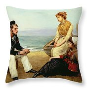 Relating His Adventures Throw Pillow