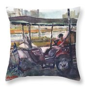 Relaxed Tuk Tuk In Phnom Penh Throw Pillow