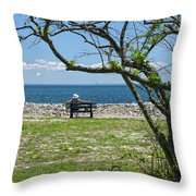 Relaxing By The Shore Throw Pillow