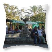 Relaxing In The Basilica De La Soledad Courtyard Throw Pillow