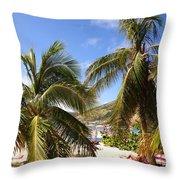 Relaxing On The Beach. Pinel Island Saint Martin Caribbean Throw Pillow