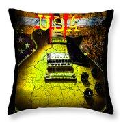 Relic Guitar Music Patriotic Usa Flag Throw Pillow