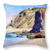 Remains Of Ancient Constructions On Seacoast  Throw Pillow