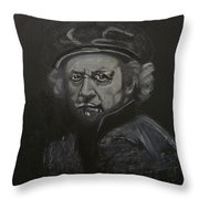 Rembrandt Black And White Throw Pillow
