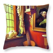 Rembrandt's Hurdy-gurdy Throw Pillow