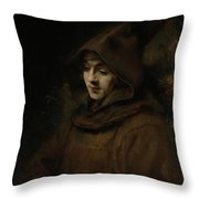 Rembrandt's Son Titus In A Monk's Habit Throw Pillow