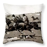 Remington: Native American Village Throw Pillow