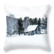 Remote Cabin In Winter Throw Pillow
