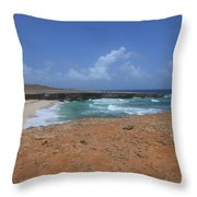 Remote Daimari Beach With Waves Rolling Ashore Throw Pillow