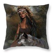 Rena Indian Warrior Princess Throw Pillow