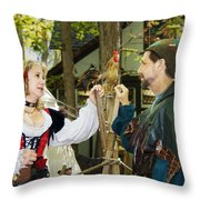 Renaissance Faire With Hen Throw Pillow