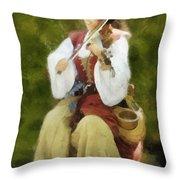 Renaissance Fiddler Lady Throw Pillow
