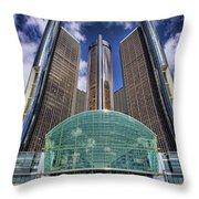 Rencen Detroit Gm Renaissance Center Throw Pillow