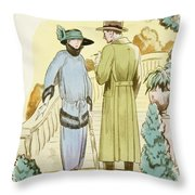 Rendezvous, Outfit And Ulster Overcoat  Throw Pillow