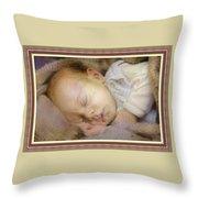 Renoircalia Catus 1 No. 2 - Adorable Baby L B With Decorative Ornate Printed Frame. Throw Pillow