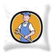 Repairman Holding Spanner Circle Cartoon  Throw Pillow