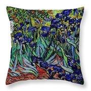 replica of Van Gogh irises Throw Pillow