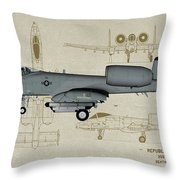 Republic A-10 Thunderbolt II - Profile Art Throw Pillow