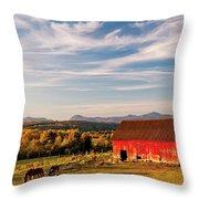 Red Barn Autumn Landscape Throw Pillow