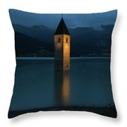 Reschensee By Night Throw Pillow by Yair Karelic