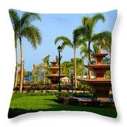 Resort Fountains Throw Pillow
