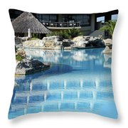 Resort With Swimming Pool Throw Pillow