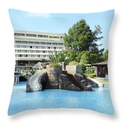 Resort With Swimming Pool Summer Vacation Scene Throw Pillow