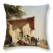 Rest By The Oasis Throw Pillow