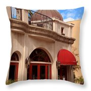 Restaurant In The Plaza Throw Pillow