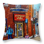 Restaurant John Montreal Throw Pillow