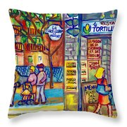 Restaurant La Tortilleria Du Marche Montreal Watercolor Streetscenes Little Italy Paintings Cspandau Throw Pillow