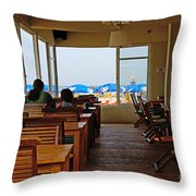 Restaurant On A Beach In Tel Aviv Israel Throw Pillow by Zalman Latzkovich