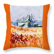 Resting Boat Throw Pillow
