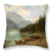 Resting By The Mountain Lake Throw Pillow