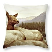 Resting Deer Throw Pillow