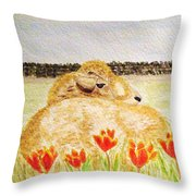 Resting In The Tulips Throw Pillow