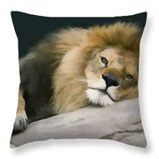 Resting Lion Throw Pillow